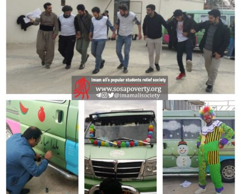 حضور کاروان شادی جمعیت امام علی به مناسبت شب یلدا و جهت اجرای برنامه برای مردم آسیبدیده از زلزله در جوانرود