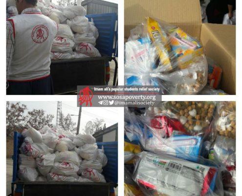 کیسههای موادغذایی، مخصوص شب یلدا، جهت توزیع در مناطق زلزلهزده استان کرمانشاه