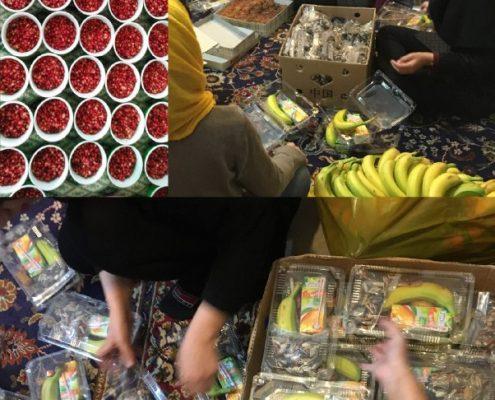 آمادهسازی پک شب یلدا برای کودکان خانه ایرانی جمعیت امام علی در گرگان