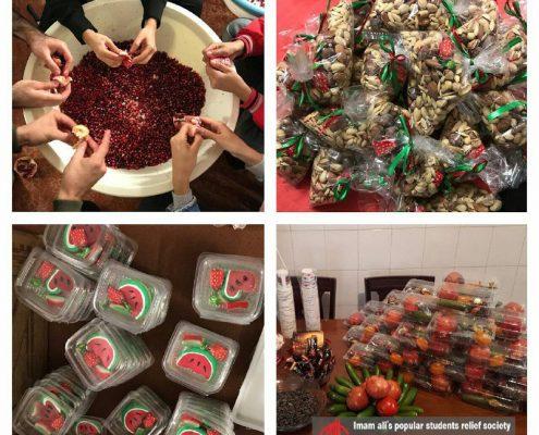 آمادهسازى بستههاى يلدا توسط اعضاى داوطلب جمعيت امام على(ع) براى برگزارى جشن يلدا در شهرهاى آمل و سارى