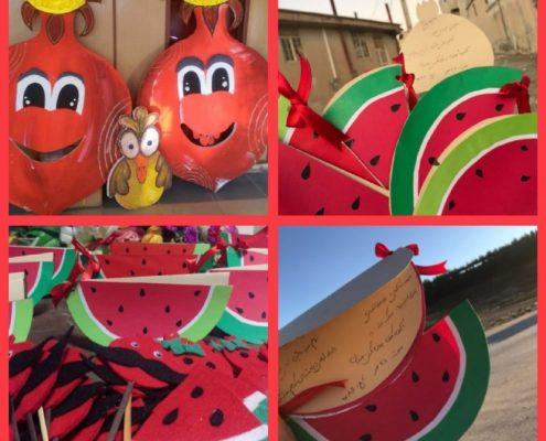 آماده شدن برای جشن یلدای ۹۷ برای کودکان جمعیت امام علی در ایلام