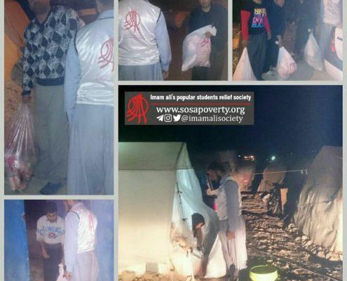 توزیع ۴۵ کیسه از اقلام ویژه شب یلدا در سرپل ذهاب، روستای زلزله زده کوییک شکر