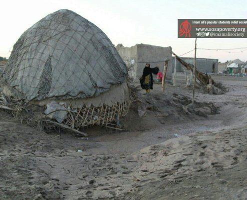 سیل روستای میانبازار، از توابع روستای باغباغون، بخش جلگه (چاه هاشم)، شهرستان دلگان