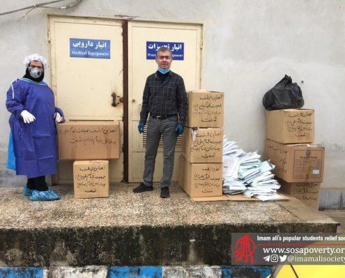 تحویل تجهیزات برای کادر درمانی بیمارستان امام رضا(ع) شهرستان شفت در استان گیلان توسط جمعیت امام علی